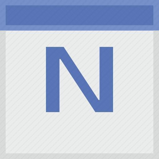 calendar, key, latin, letter, n icon