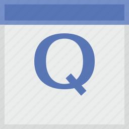 calendar, key, latin, letter, q icon