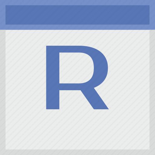 calendar, key, latin, letter, r icon