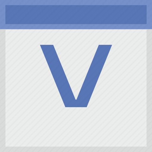 calendar, key, latin, letter, v icon