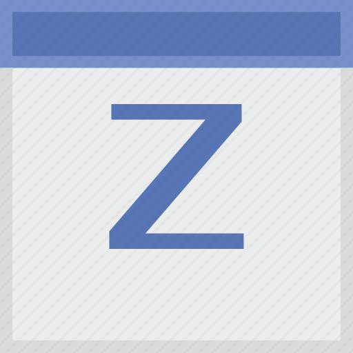 calendar, key, latin, letter, z icon