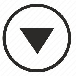 arrow, bottom, down, round icon