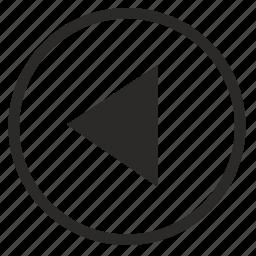 arrow, back, last, left, round, triangle icon