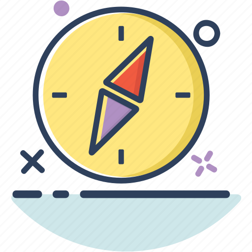 arrow, compass, compass icon, direction, line filled, location, navigation icon