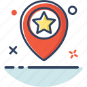 favorite, gps, location, marked, navigation, place, star icon