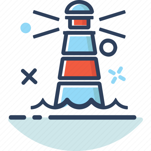 direction, land, lighthouse, lighthouse icon, line filled, location, navigation icon