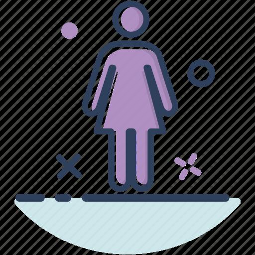 female, girl, navigation, toilet, toilet icon, woman, woman icon icon