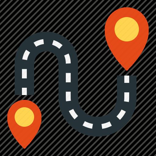 destination, direction, navigation, pointer, road icon
