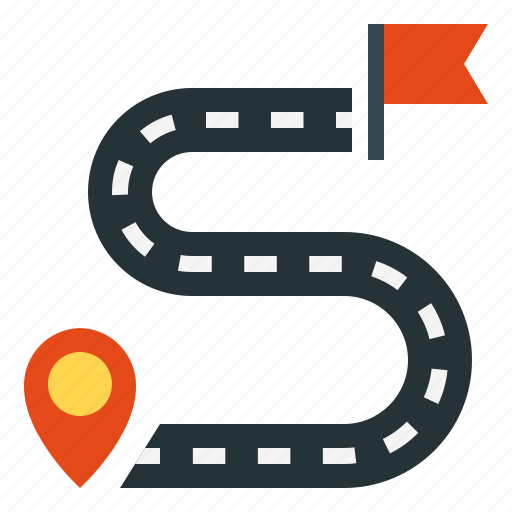 destination, flag, pointer, road, route icon