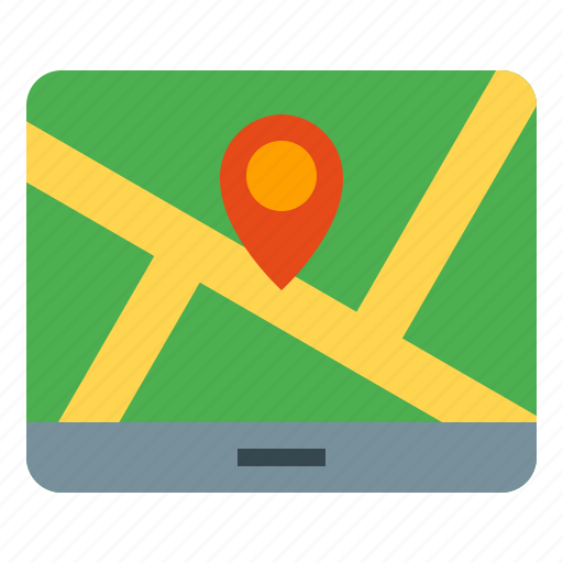 direction, guide, map, navigation, tablet icon