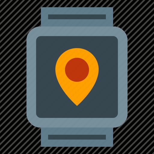 clock, location, smart, smartwatch, watch icon