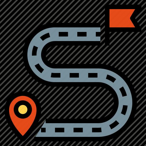 destination, flag, pointer, road, route icon
