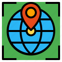 globe, location, marker, pointer, position icon