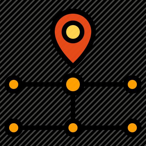 connection, destination, pointer, route icon