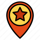 favourite, pin, pointer, position, star icon