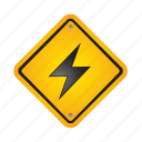 lightning, sign, alert, danger, road, warning