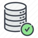 check, data, database, network, server, storage, tick icon