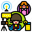 broadcast, internet, live, media, news, online, streaming icon