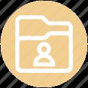 communication, document, file, folder, person, storage, user icon