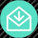 arrow, e-mail, envelope, letter, mail, message, receive