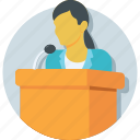 communication, conference, lecture, public speaker, speech icon