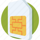 chip, communication, network, sim, sim card icon