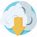 cloud download, cloud network, computing, download, icloud icon