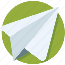 airplane, origami, paper, paper plane, send icon