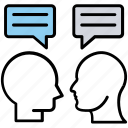 communication, conversation, dialogue, discussion, people talking, speech bubbles icon