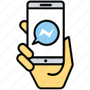 instant messaging app, messenger, mobile chatting app, mobile communication, social media messaging icon