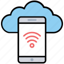 cloud computing, cloud information, hotspot connection, mobile cloud computing, wireless cloud network icon