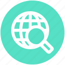 communication, glass, globe, magnifier, magnifying, search, world