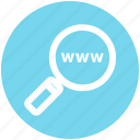 domain searching, internet, magnifier, online, search, web, www icon