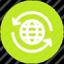 around, arrows, global, globe sync, sync, synergizing, world icon