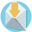 inbox, letter, mail, message, receive message icon