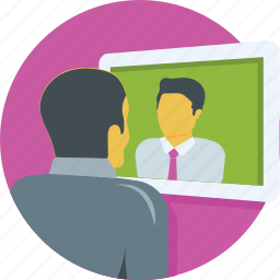 communication, conference, lecture, video call, video chat icon