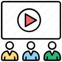 cinema auditorium, cinema hall, cinema house, movie theater, video presentation icon