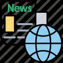global news, journalism, mass communication, newspaper, world news icon