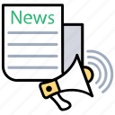 breaking news, megaphone, news, news announcement, newspaper icon