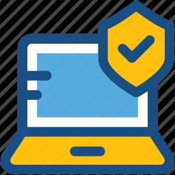encryption, laptop, laptop access, laptop security, shield icon