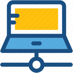 connected laptop, laptop server, laptop sharing, networking, server connection icon