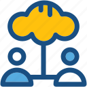 cloud users, social media, cloud computing, storage cloud, data storage icon