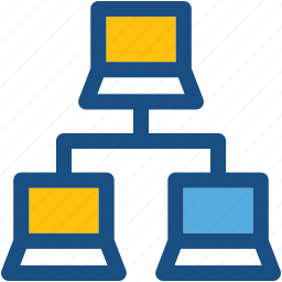 client server, laptop sharing, laptops, laptops connected, networking icon