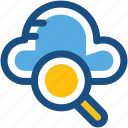 magnifier, online search, cloud search, cloud magnifying, internet exploring icon