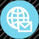 communication, earth, email, envelope, globe, internet, world