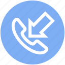 arrow, call, communication, incoming, phone, phone call, telephone icon