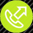 arrow, call, communication, outgoing, phone, phone call, telephone
