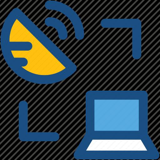 broadcasting, dish antenna, laptop, satellite dish, transmission icon