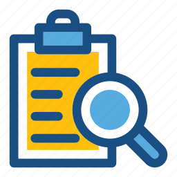 analyze, clipboard, inspection, magnifier, searching icon