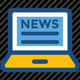 e news, laptop, media, online media, online news icon